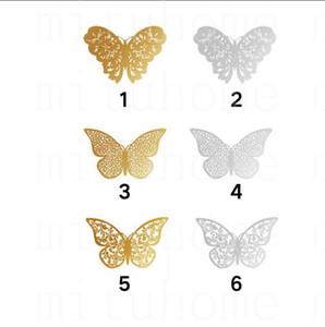 3D Hollow бабочки Art наклейки стены Спальня Гостиная Домашний декор Дети DIY украшения 12шт / Set