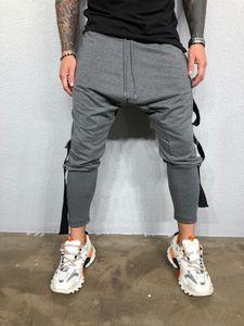 Мужская модельер повседневные брюки сплошной цвет карманный шнурок Homme одежда спортивный стиль прямые повседневная одежда