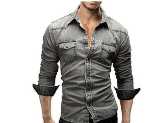 Hombres S Shirt Sólido Marca varón del ajuste de manga larga Camisetas Casual Color de dril de algodón delgado de ajuste vestido sólido camisas para hombre de la chaqueta M-3XL