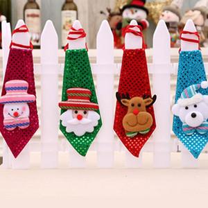 Cravate de Noël Paillettes Père Noël bonhomme de neige renne Ours Décoration de Noël pour la maison Décoration de Noël Enfants Ornements de jouets
