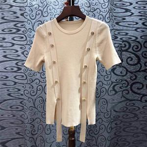 1224 Новое прибытие 2020 весна свитер шеи экипажа с коротким рукавом пуловер абрикос Черный Марка Same Стиль свитер Luxury Changji