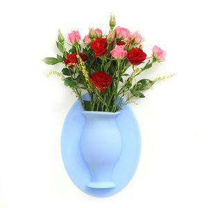Silicone Vases removable applicable to indoor wall mounted flower magic flower pot Home Kitchen Office apply to any smooth surface