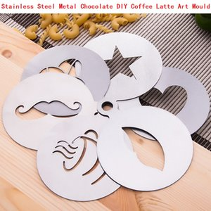 150pcs Stainless Steel Metal Chocolate DIY Coffee Latte Art Mould Cappuccino Spray Coffee Stencils Barista Duster Coffee Tool