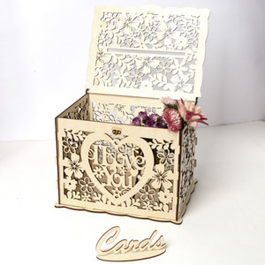 Wooden Wedding Card Boxes with Lock and Card Sign for Weddings Receptions Birthdays Graduations Baby Showers Decorations