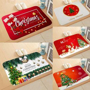 Tapis de sol de porte de Noël tapis tapis extérieur salle Santa Claus joyeux décorations de Noël pour la maison cadeau Noël Natale