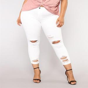 Gran tamaño 3XL Verano mujer jeans Agujero rasgado Mujeres Elastic Plus Size Denim Pocket Button Casual Boot Cut Pant Jeans mujer AD