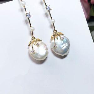 Forma-Natural Pérola Brincos Para Mulheres Meninas barroco étnico Longo Brinco Bohemia Cultured Pearl Earring Moda Jóias
