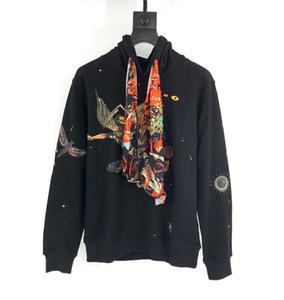 Birlikte Hoodie Erkekler Pullover katılmak Hoodie Sonbahar Kış Moda Casual Streetwear şeytan melek baskı Tişörtü eşarplar