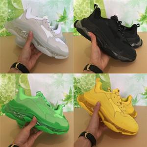 남성 여성 삼중 녹색 노란색 블랙 화이트 가죽 플랫폼 신발 패션 코디 신발 크리스탈 단독 트리플 S 스니커즈