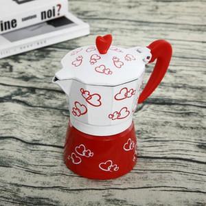Coffee Pot Moka Pot Cafetière Romantique coeur rouge en alliage d'aluminium Espresso Mocha Pot Café Kit Percolateur Cafetiere Outils