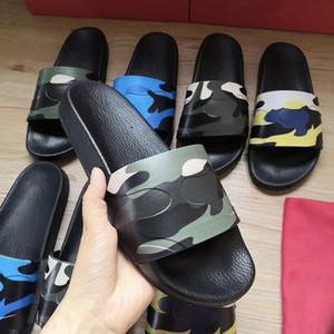 Diseñador de diapositivas para hombre de las mujeres de goma zapatilla de lujo camuflaje deslizante tirón de los zapatos Flops Summer Beach plano ancho Tamaño grande con la caja
