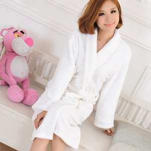 Winter Super soft thick coral fleece warm nightgown ladies casual solid home clothes lace robe Leisure wear