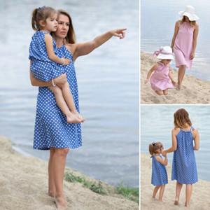 2019 Moda Kadın Anne ve kızı elbise anne ve beni mavi pembe Elbise yelek Yaz Kız kravat Striped giysi