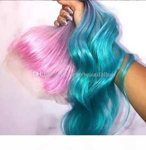 Long Gradient 3 Colored Pink violet Blue Ombre Hair 100% Human Hair Lace Wig for Party