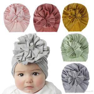 18 Styles infantil bonito da criança Unisex flor Knot indiana Turban cap Crianças Carneiras Caps Bebê floral Hat Sólidos macios de algodão hairband Chapéus