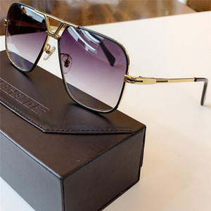 725 hombres de las gafas de sol retro del oro piloto Gris Gradiente Lens Negro / Leyendas de los hombres de las gafas de sol sombras nuevo con la caja