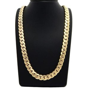 """Miami Gold Cuban Link 24""""Necklace Plated Chain Mens 14k 12mm Ogfun"""