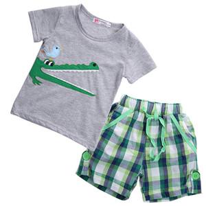2020 Son Çocuk Giyim Bebek Çocuk Boy Giyim Karikatür Kısa Kollu Pantolon yazlık kıyafetler Seti 1-6T Flaring tişört Tops
