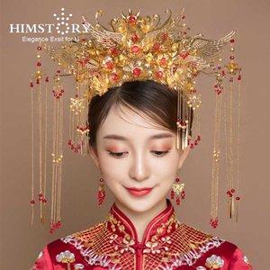 Himstory Traditionelle Chinesische Brautkopfschmuck Goldblumen-Flügel-Form-Hochzeits-Haar-Krone Kostüm-Stadiums Haarschmuck