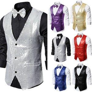 Fiyonk Moda Hot 2019 ile Brand New Erkekler Yelek Biçimsel İş Suit Yelek İnce Casual Yelek Katı V Yaka Düğme payetli