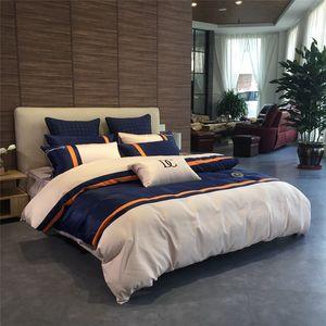 European modern business bedding wash silk version cotton cottonqueen Bed Comforters Sets designer bedding sets Quilt cover 4 pieces suit ne