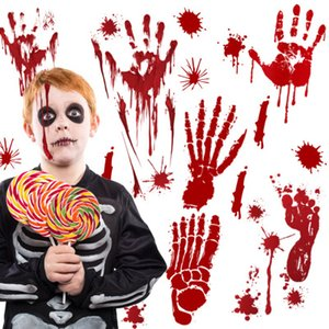 Halloween Horrible sanglant Zombie Wallpaper Main Pied autocollant Scare sang Handprint Accueil fenêtre Stickers muraux Party Decoration