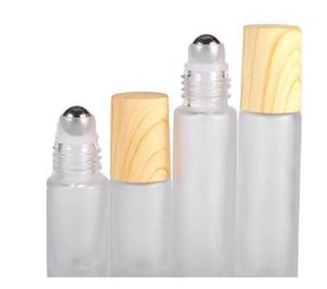 Glass Roller Bottles Vials Containers with Metal Roller Ball and Wood Grain Plastic Cap for Essential Oil Perfume