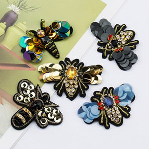 Handmade Crystal Rhinestone beaded&sequin Patche Bees Shape Fashion Sew on pearl patch for clothes beaded Applique Cute DIY