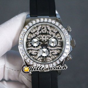 Nova 116588 TBR prata Pattern Diamond Dial Automatic Mens Watch 116595 Diamante moldura de aço Processo Chronograph Relógios Hello_Watch 3color