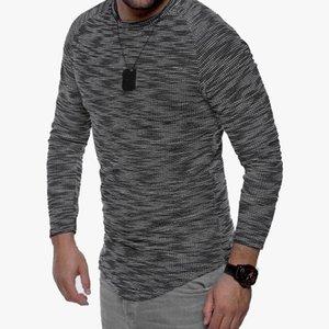 2018 Herbst NEUE Art und Weise Männer Slim Fit Langarm dünne T-Shirts Fest-Rundhalsausschnitt Pullover T Top beiläufigen Männer dünne Kleidung