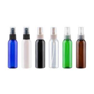 50pcs / lot 60ml Esvaziar Perfume Plástico Bomba de spray Garrafa 60cc Cosmetic Container fino spray garrafas claras Branco Castanho Azul Verde