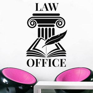 Logo Wall Decal Open Book Pen Lettering Law Firm Office Interior Decor Vinyl Door Window Stickers Of Justice Office Decoration