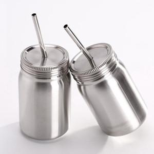 Vaso Mason de 500-700 ml de doble capa de acero inoxidable Tarro de masón con pajita de acero inoxidable y tapa a prueba de fugas Taza de botella de agua ZZA995
