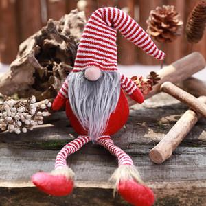 Рождество плюшевый Санта-куклы Украшение Striple Длинные ноги Постоянная Doll Украшение Рождество Xmas Tree декора кулон подарок малышей FFA3121-2