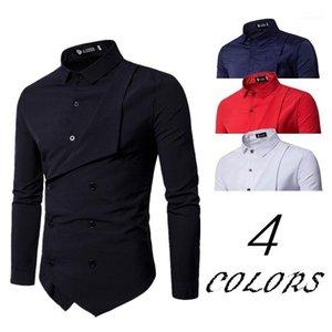 Moda Gira Giù Il Collare Camicie A Maniche Lunghe Doppio Petto Homme Abbigliamento Mens Ricamo Designer Dress Shirts