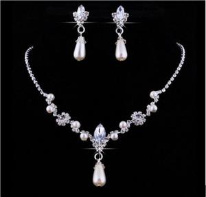 Cristal Hot Sale Drop pérolas de prata banhado a colar brincos de imitação conjuntos de jóias de casamento para a noiva madrinhas mulheres acessórios de noiva