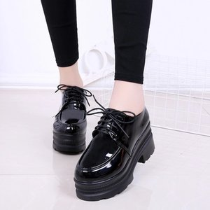 Women High Heels Shoes Platform Wedges Female Pumps Black PU Leather Lace Up Thick Bottom Round Toe Casual Shoes 2019 sdc