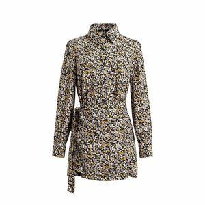 Shirt Designer Abiti Moda Bind Panelled bordo irregolare progettista delle donne Abiti casual femmine Abbigliamento stampa floreale Womens