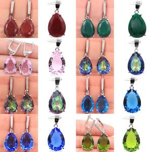 35x1327x13mm SheCrown caldo di vendita 18x13mm Rubino Smeraldo tanzanite Kunzite Peridot Mystic Topaz 925 orecchini di pendente