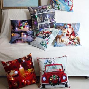 LED Christmas Luminous Kissenbezug Plüsch Dekokissenbezüge Kissenbezug XMAS Kissenbezug Home Sofa Car Decor 20 Style XD20193