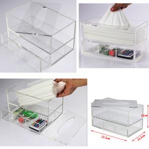 Transparent Tissue multifonctions Boîte avec bureau acrylique tiroir de stockage Clear Case Organisateur Accueil Serviette / Hôtel Stockage de tissus
