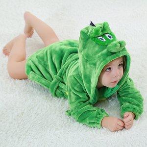 New Born Baby Boy Girls Cute Cartoon Animals Sleepwear Belt Cotton Clothes Winter Home Wear Robes Stitch Dinosaur Cat