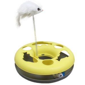 2018 Cat Toys Spring Mice Crazy Amusement Disco multifunzionale Disco Play Attività Pet Giocattoli divertenti Colore multiplo
