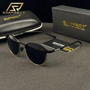 SIMPRECT TR90 металлические поляризованные солнцезащитные очки мужчины 2020 антибликовые круглые солнцезащитные очки водителя женщины ретро старинные солнцезащитные очки для мужчин T200628