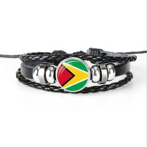 2019 Nova Corda De Couro Multicamadas Frisado Pulseiras Pulseiras De Vidro Cabochão Guiana Nacional Da Bandeira Da Copa Do Mundo de Futebol Fã de Jóias para Mulheres Dos Homens