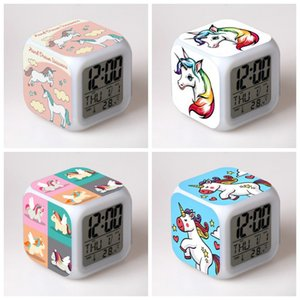 Alarme Unicorn Relógio Sete Cores LED Praça Clocks Student presente das crianças Home School Use Creative Design Hot venda 11 5yy H1