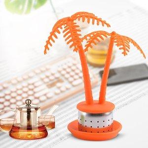 Экологию силиконовый чайника чай фильтр из нержавеющей стали Tray Coconut Tree Designs Teas STRAINER Fit Главная Питание Бар Гаджеты 4 68hd E19