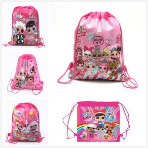 Hot Fashion Pretty Girls Pattern Bolsa de almacenamiento no tejida Niños Niños Draw Pocket Gift Decor Envío gratis
