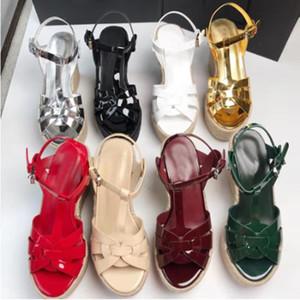 Sandalias de las mujeres Correa del tobillo Zapatos de fiesta de las señoras del cuero genuino Tiras Super High Heels Vacaciones en la playa Sandalias de cuña de las mujeres