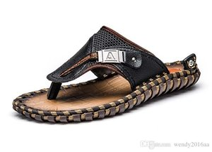 2018 Top Quanlity Men Flip Flops Beach Slippers Summer Black Brown size 38-47cm
